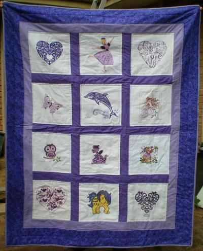 Photo of (QUILTED) Colour-Purple Theme E01s quilt