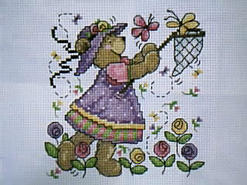 Cross stitch square for (QUILTED) Colour-Purple Theme E01's quilt